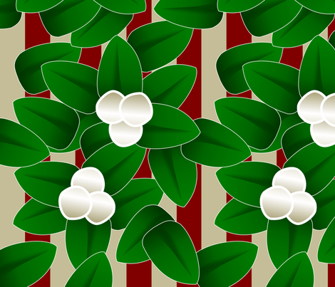 Meet Me Under the Mistletoe (striped) fabric by lowa84 on Spoonflower - custom fabric