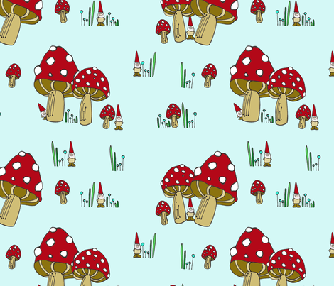 Mushrooms & Gnomes Scatter fabric by toni_elaine on Spoonflower - custom fabric