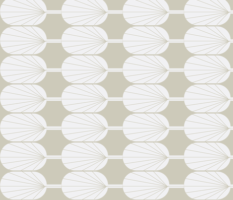 Fanpod white on greige fabric by ninaribena on Spoonflower - custom fabric