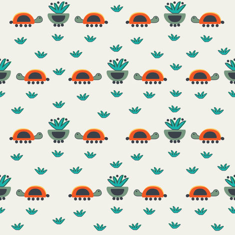 Tortugas y macetas fabric by gabriela_larios on Spoonflower - custom fabric