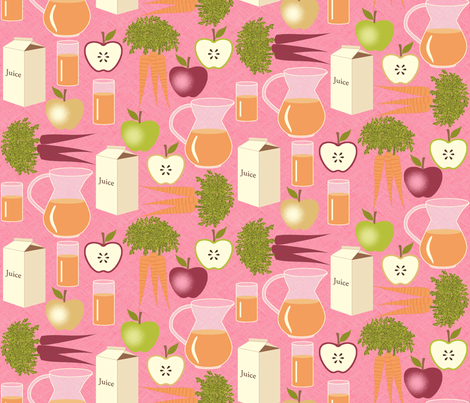 Carrot Juice is Better With Apples - Pink fabric by inscribed_here on Spoonflower - custom fabric