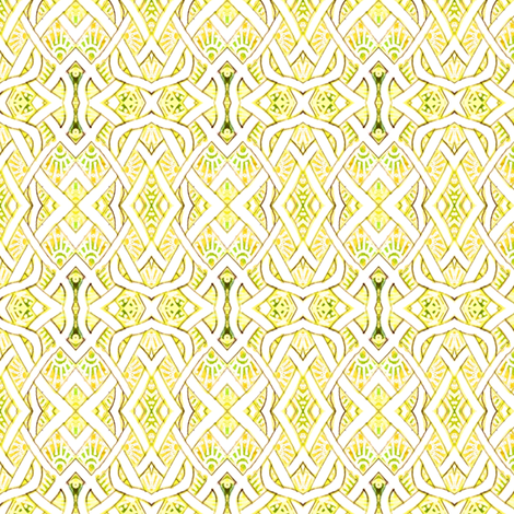 Medium sized Pesudo Persian Fishnet (lemon/lime)) fabric by edsel2084 on Spoonflower - custom fabric