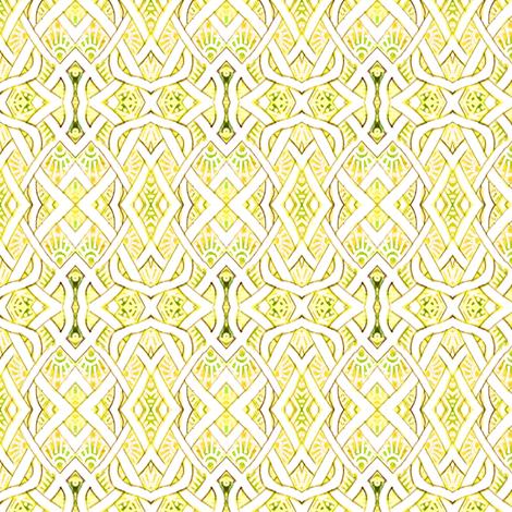 Medium sized Pesudo Persian Fishnet (lemon/lime)) fabric by edsel2084 on Spoonflower - custom fabric