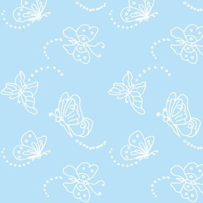 Flutterbies in white on light blue