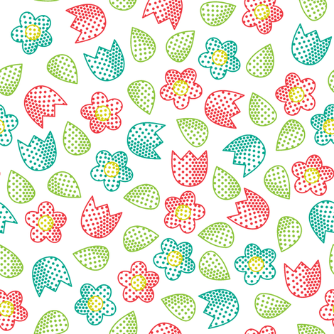Pop Bot Ditsy White fabric by modgeek on Spoonflower - custom fabric