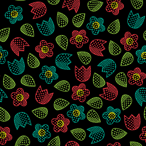 Pop Bot Ditsy Black fabric by modgeek on Spoonflower - custom fabric
