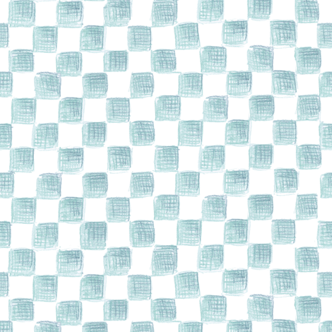 Bowditch's blue squares on plane white fabric by weavingmajor on Spoonflower - custom fabric