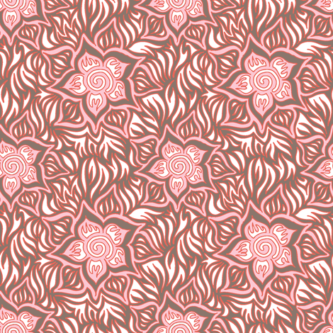 Pink and brown tropics fabric by emilyclaire on Spoonflower - custom fabric