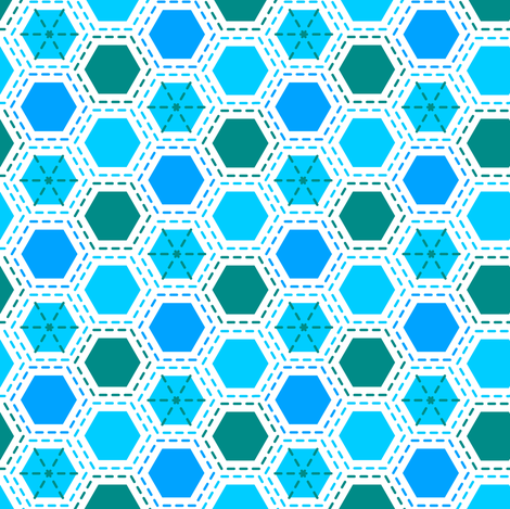 Tilkkutakki (Cool Colours) A fabric by nekineko on Spoonflower - custom fabric