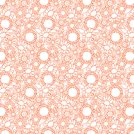 Wobbly floral orange fabric by cjldesigns on Spoonflower - custom fabric