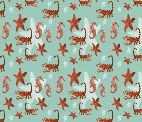 Starfish and friends fabric by upcyclepatch on Spoonflower - custom fabric