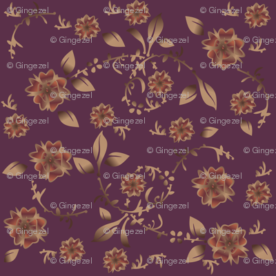 Wine Floral Fabric © Gingezel™ Inc. 2011