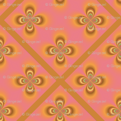 Yellow Geometric Flowers on Pink Diamonds © Gingezel 2011