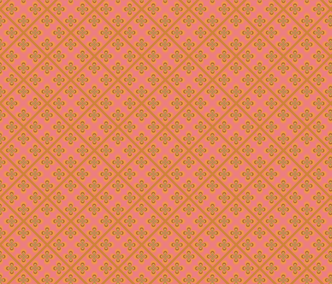 Yellow Geometric Flowers on Pink Diamonds © Gingezel 2011 fabric by gingezel on Spoonflower - custom fabric