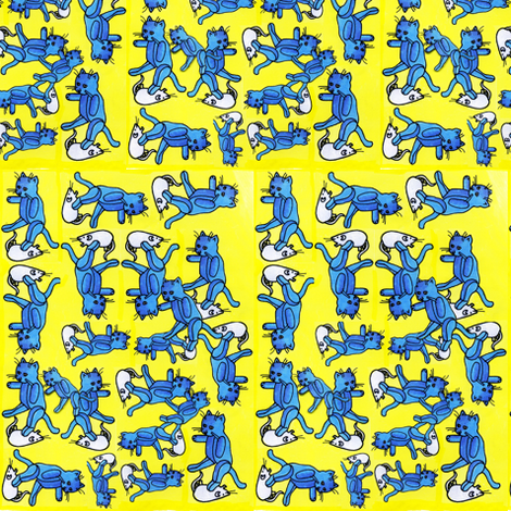 Cat and Mouse Toy Toss fabric by edsel2084 on Spoonflower - custom fabric