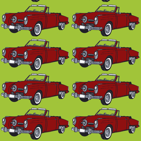 red 1950 Studebaker convertible on lime background fabric by edsel2084 on Spoonflower - custom fabric