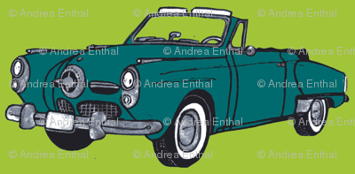 Dark teal1950 Studebaker convertible on lime background