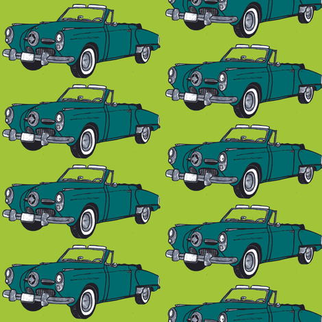 Dark teal1950 Studebaker convertible on lime background fabric by edsel2084 on Spoonflower - custom fabric