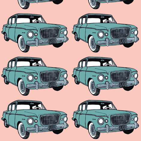 green 1959 Studebaker Lark on pink background