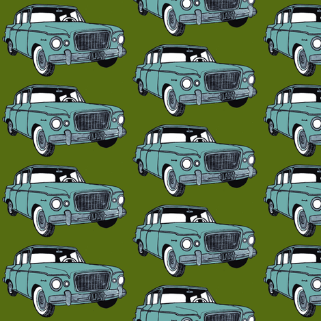 light green 1959 Studebaker Lark on forest green background fabric by edsel2084 on Spoonflower - custom fabric