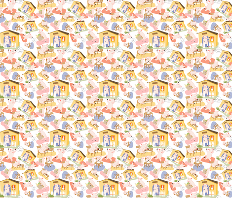 pigs_random_crowded_tossed fabric by meg56003 on Spoonflower - custom fabric