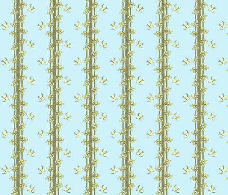leaves and swallows - blue olive cream fabric by glimmericks on Spoonflower - custom fabric