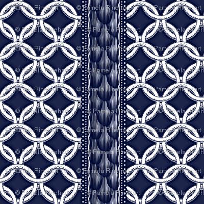 Chain LInk Stripe - Navy White