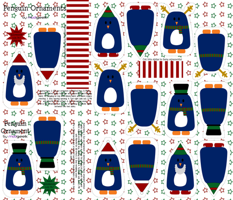 holiday penguin ornaments fabric by modgeek on Spoonflower - custom fabric