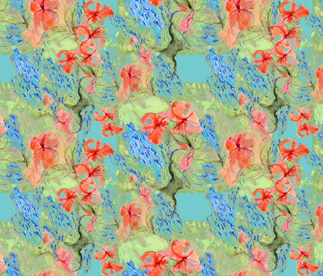 Balsam and lobelia - green - by Alexandra Cook fabric by linandara on Spoonflower - custom fabric