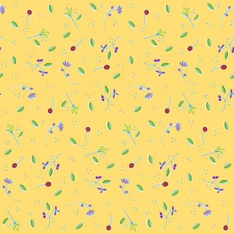 Yellow Ditsy Print fabric by katiebw on Spoonflower - custom fabric