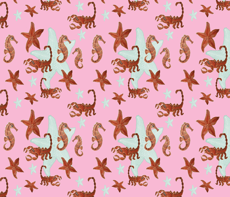 Starfish and friends-pink fabric by upcyclepatch on Spoonflower - custom fabric