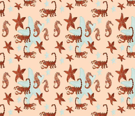 Starfish and friends-peach fabric by upcyclepatch on Spoonflower - custom fabric