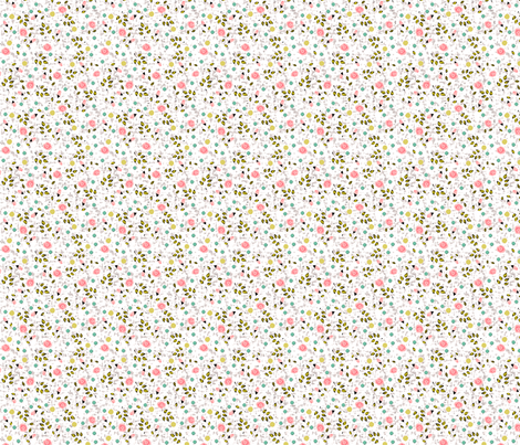 Ditsy prints flower in white fabric by fantazya on Spoonflower - custom fabric