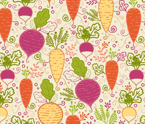 Growing Root Vegetables fabric by oksancia on Spoonflower - custom fabric