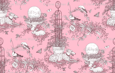My Garden Toile Main Small Rose Pink ©2011 by Jane Walker