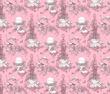 My Garden Toile Main Small Rose Pink ©2011 by Jane Walker fabric by artbyjanewalker on Spoonflower - custom fabric