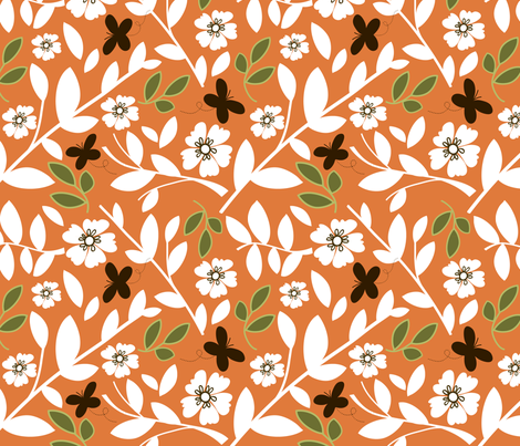 orange bloom fabric by emilyb123 on Spoonflower - custom fabric