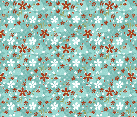 Ditsy Daisy in Aqua and Clay fabric by christiem on Spoonflower - custom fabric