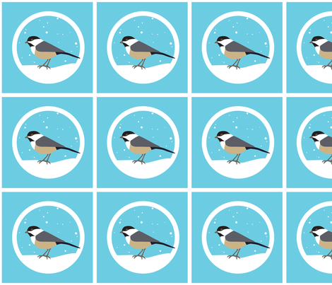 Solo Chickadee fabric by beckarahn on Spoonflower - custom fabric