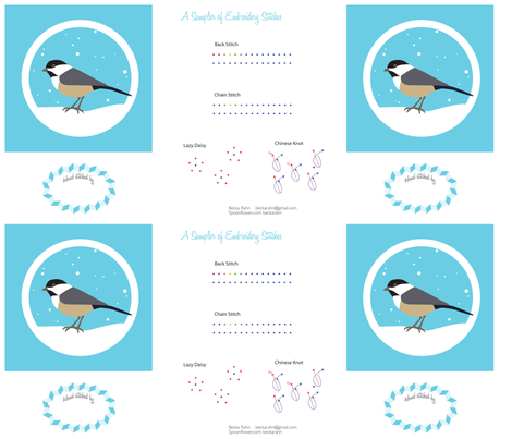 Chickadee Sampler fabric by beckarahn on Spoonflower - custom fabric