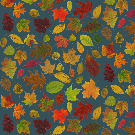 tiny leaves on slate fabric by weavingmajor on Spoonflower - custom fabric