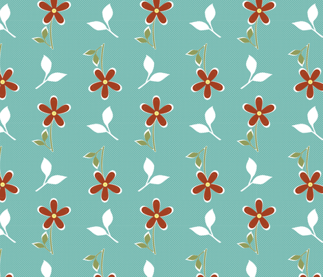 Tossed Daisies in Aqua and Clay fabric by christiem on Spoonflower - custom fabric