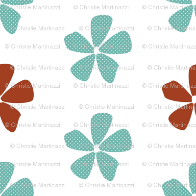 Dotted Daisies in Aqua and Clay