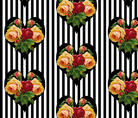 Black 'n' Hearts large fabric by glanoramay on Spoonflower - custom fabric