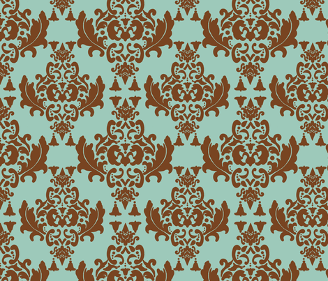 Delicious Damask- Brown on Spoonflower Green fabric by mayabella on Spoonflower - custom fabric