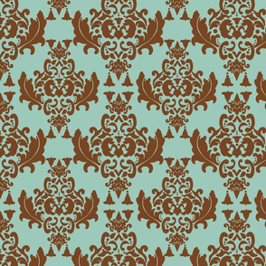 Delicious Damask- Brown on Spoonflower Green