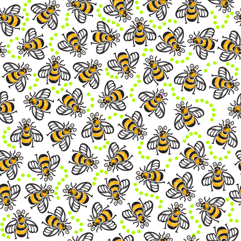 A Beezy Ditsy - Lime fabric by dianne_annelli on Spoonflower - custom fabric