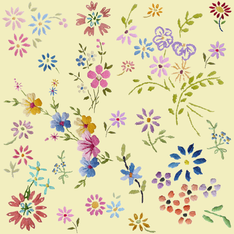 little_embroidered_flowers_cream fabric by peppermintpatty on Spoonflower - custom fabric