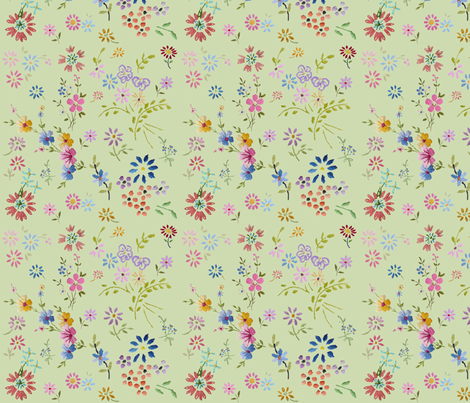 little_embroidered_flowers_green fabric by peppermintpatty on Spoonflower - custom fabric