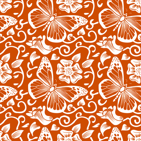 Fluttering Pumpkin fabric by dianne_annelli on Spoonflower - custom fabric